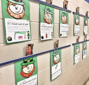 St. Patrick's Day Crafts, Fork Beard Painting, and Writing Prompts in the Hallway