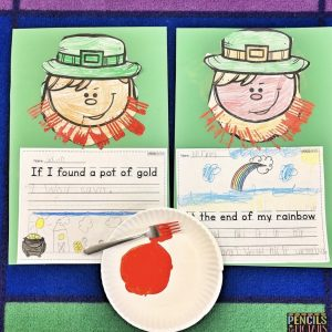 St. Patrick's Day Fork Beard Painting Paired with Kindergarten, Preschool, or First Grade Writing Prompts