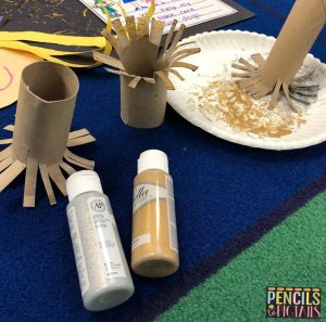 New Year's Eve Fireworks made with Paint and a Paper Towel Roll for Preschool, Kindergarten, and First Grade Students