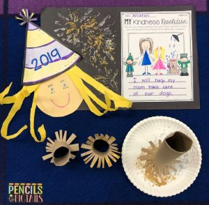 New Year's Eve Craft with Paper Towel Fireworks for Preschool, Kindergarten, and First Grade Students