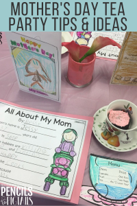 Mother's Day Tea Party Place Setting with Cupcakes in Teacups, Menu Cards,Keepsake Crafts, and More