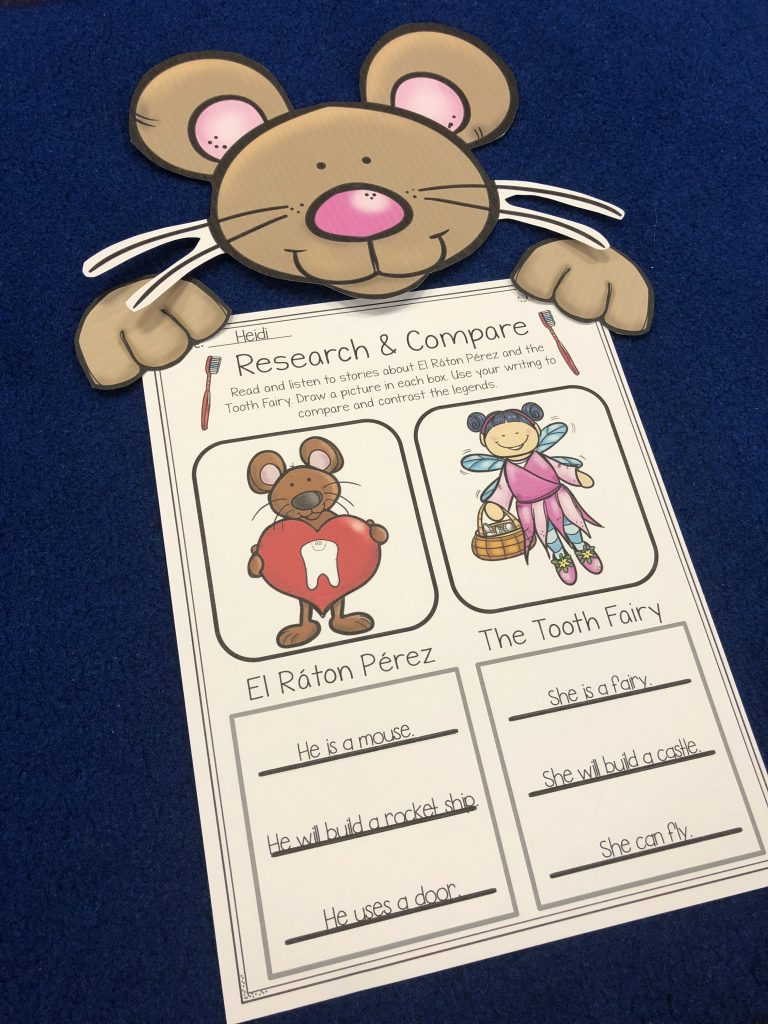 Research and compare the Tooth Fairy and El Ráton Pérez printable from Pencils to Pigtails TPT store