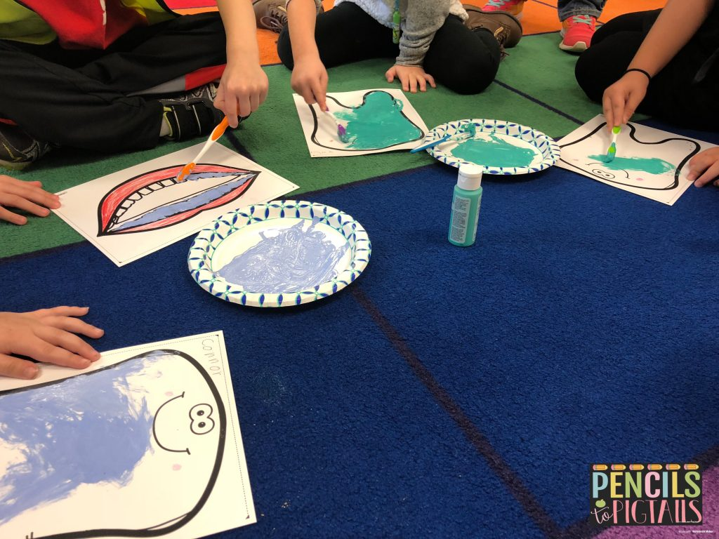 Painting with a toothbrush from Pencils to Pigtails TPT resource