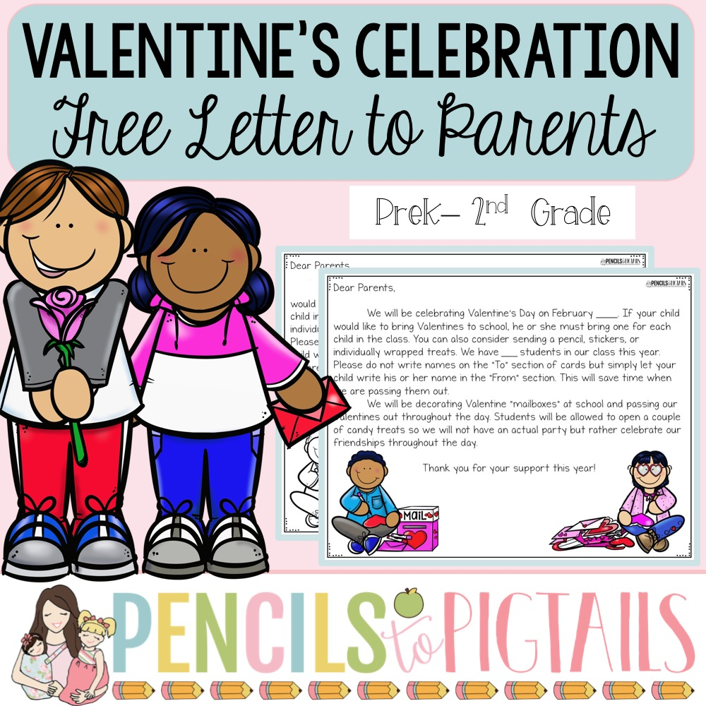 Free Valentine's Celebration Letter for Parents from the Pencils to Pigtails TPT Store