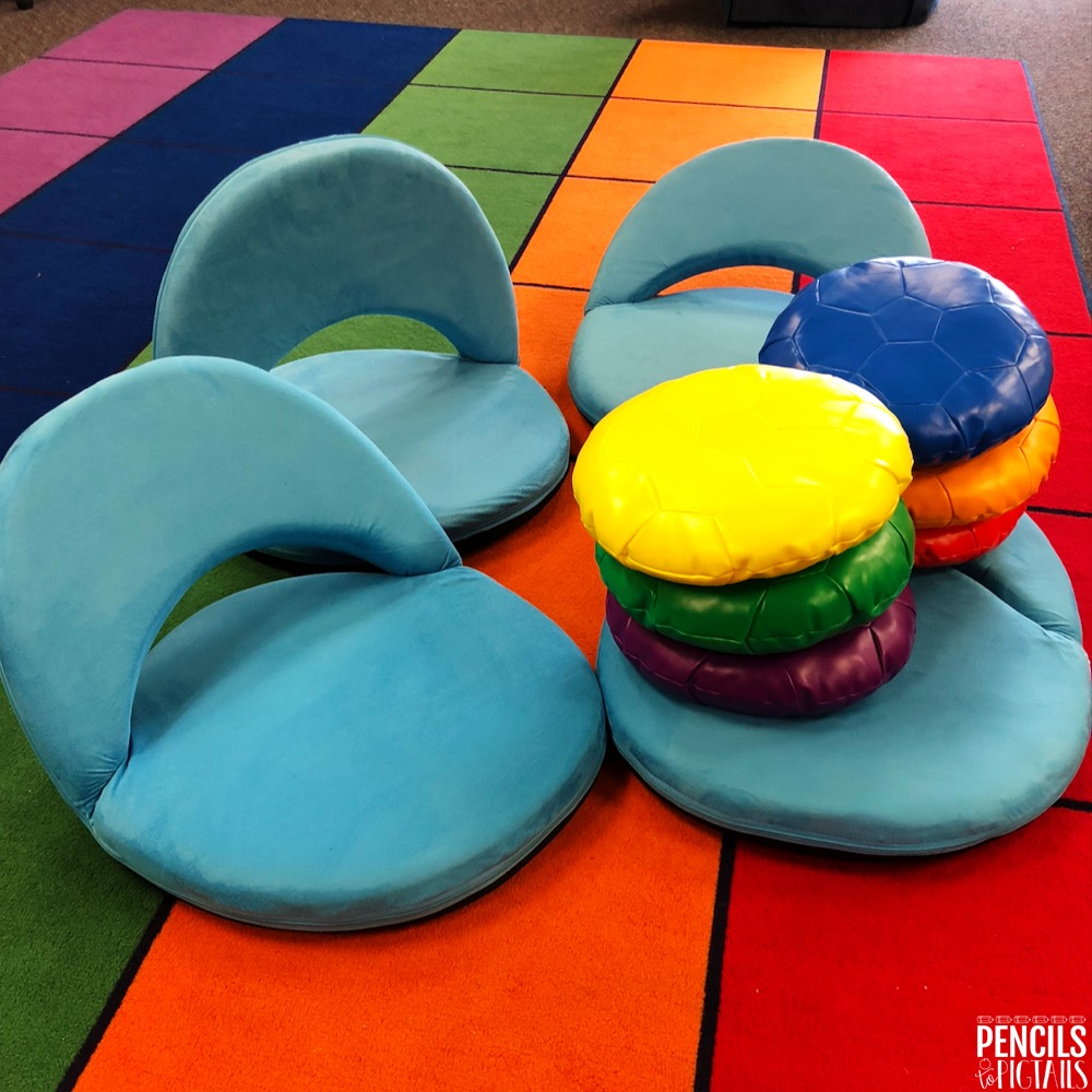 Rug and Soft Seats funded through Donor's Choose grant