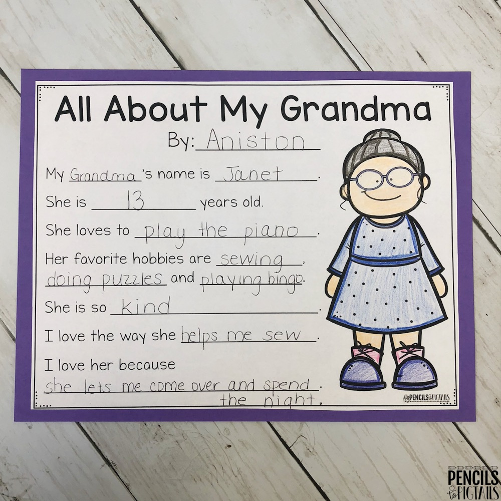 All About My Grandparents Page by Pencils to Pigtails