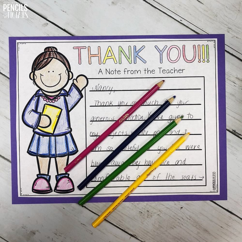 Teacher Thank You for Donor's Choose projects or others who give to the classroom