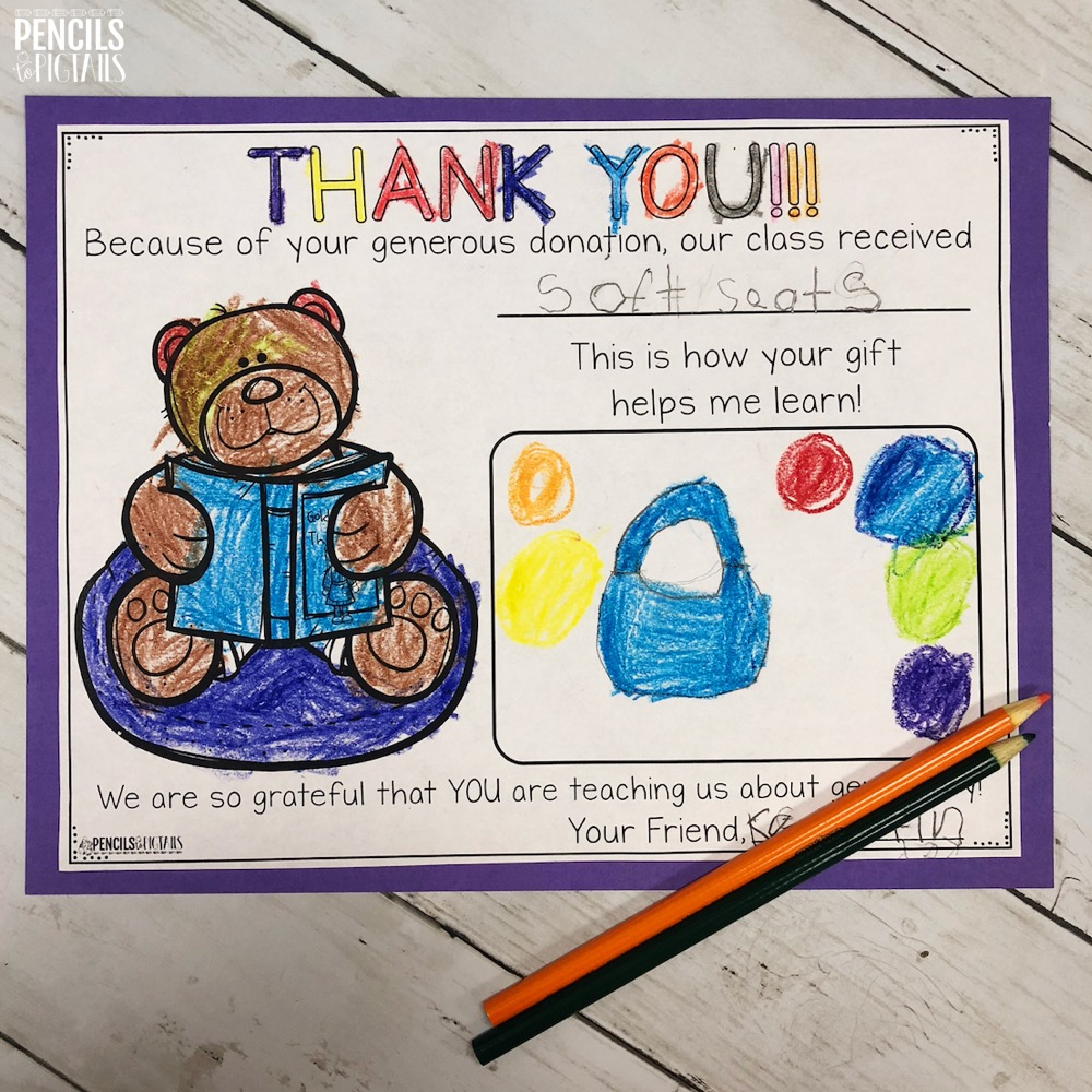 Thank You Letters for Kindergarten created by Pencils to Pigtails