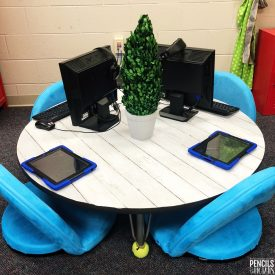 Top View of Classroom Table Makeover