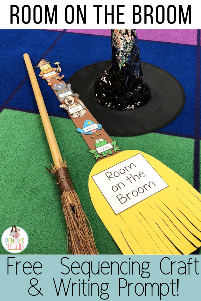 Your students will love these Room on the Broom sequencing activities. Work on retelling the story, identifying characters, and more with this freebie I'm sharing today! #kindergarten #roomonthebroom #firstgrade #prek #halloween