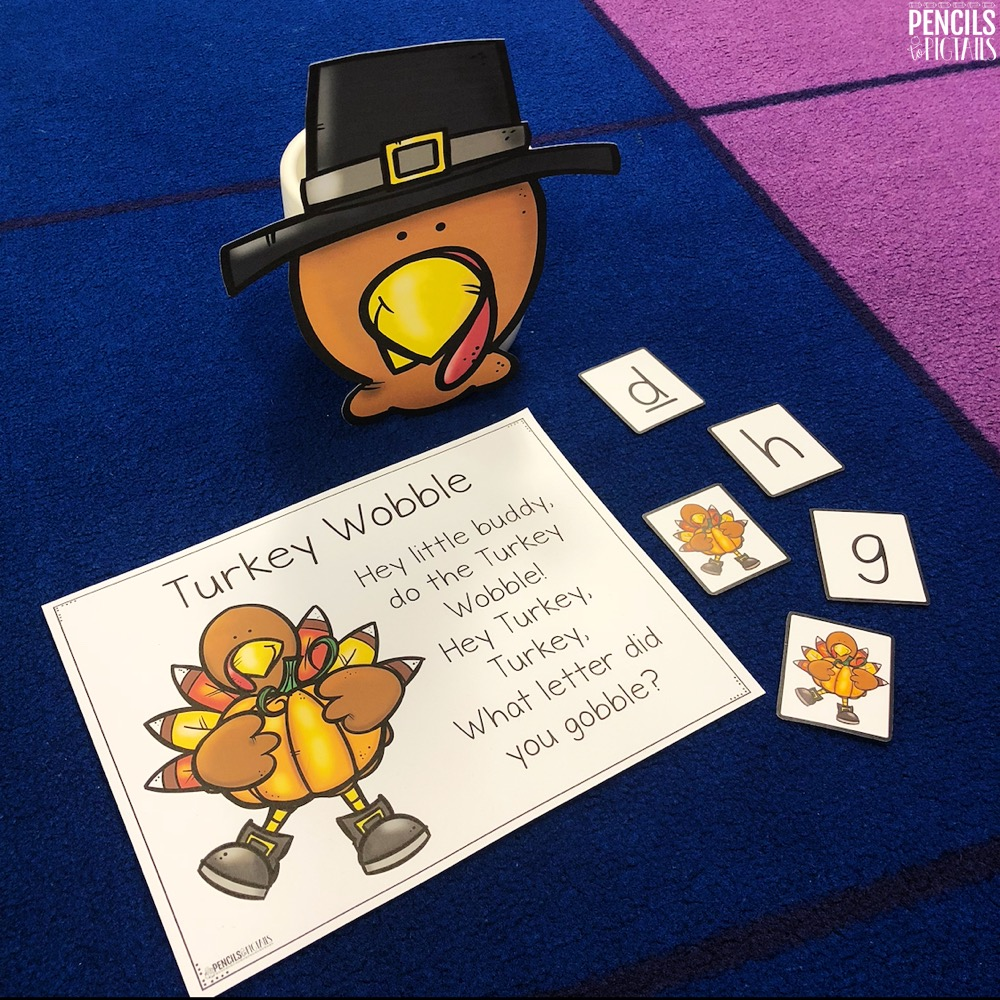 Free Turkey Wobble Game for Letter Recognition and Sounds