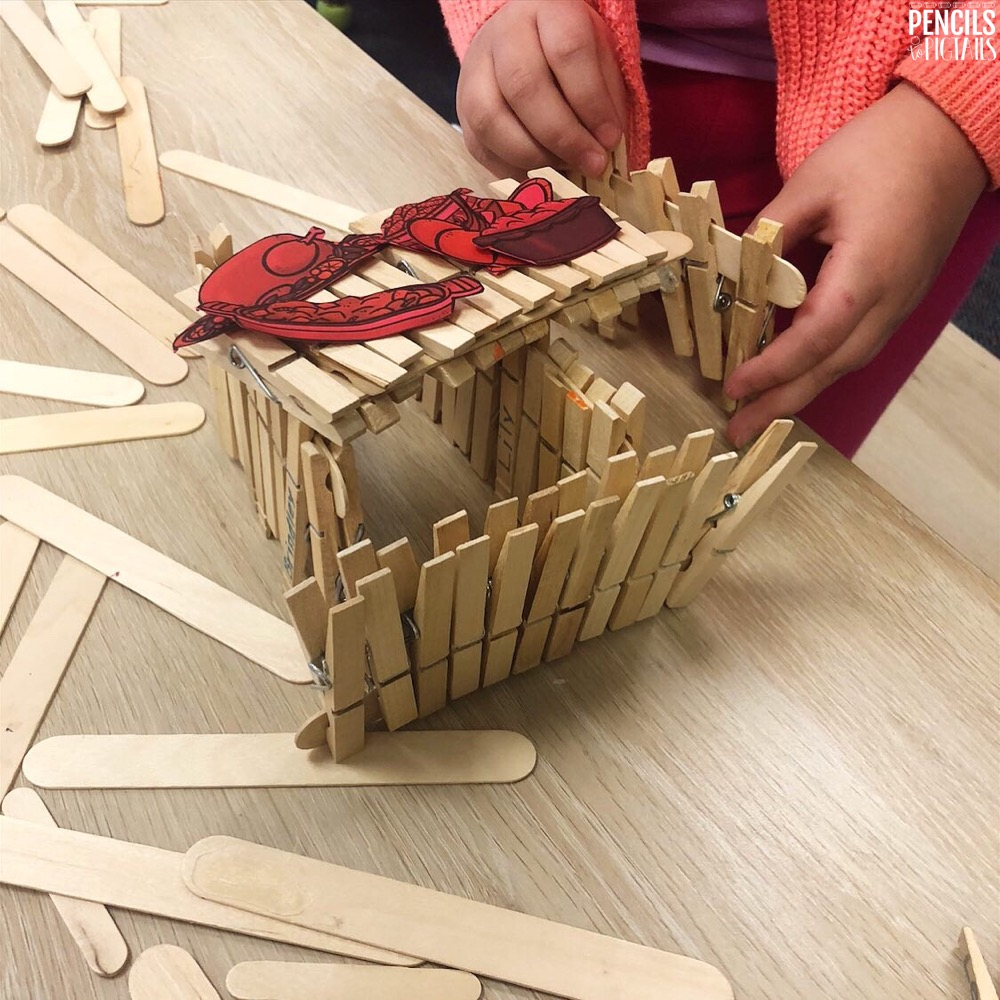 Students building Thanksgiving Dinner Table STEM Project