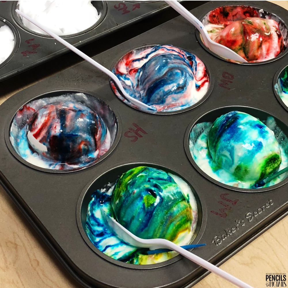 Easter Egg Dying Techniques using a muffin tin and shaving cream